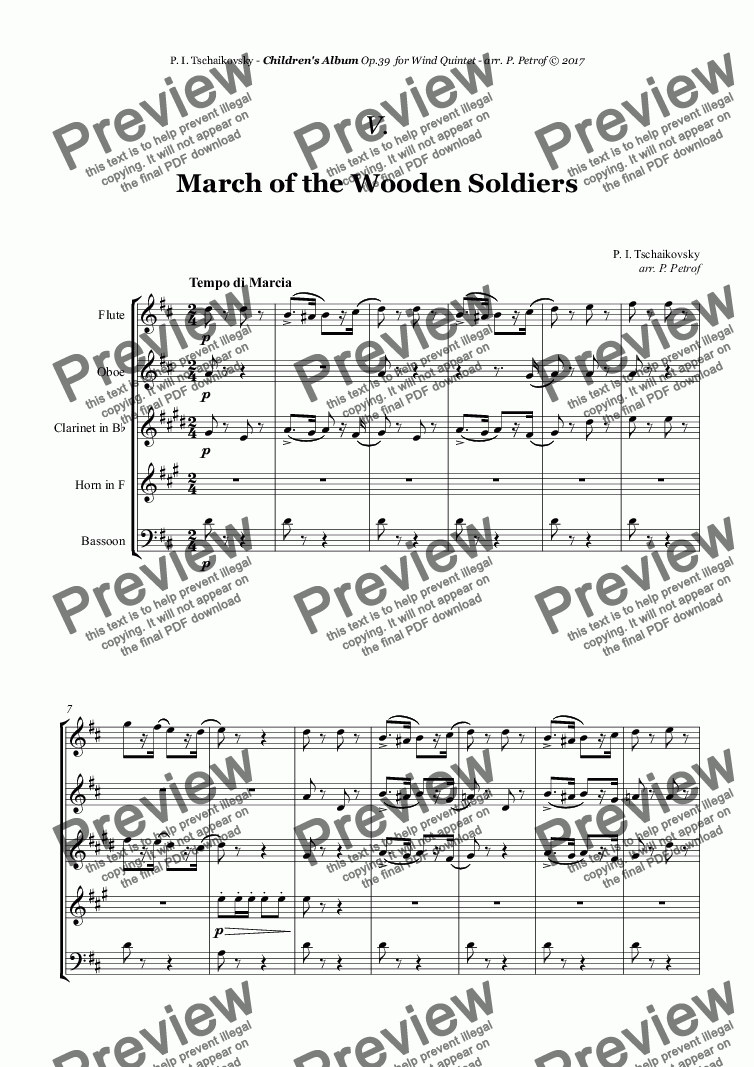 Tchaikovsky ''March of the Wooden Soldiers'' from ''Album for the Young'' Op.39 for Woodwind Quintet for Wind quintet by P. I. Tchaikovsky Sheet