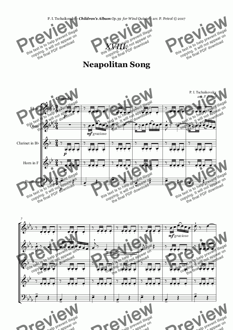 page one of Tchaikovsky - ''Neapolitan Song'' from ''Album for the Young'' Op.39 for Woodwind QuintetASALTTEXT