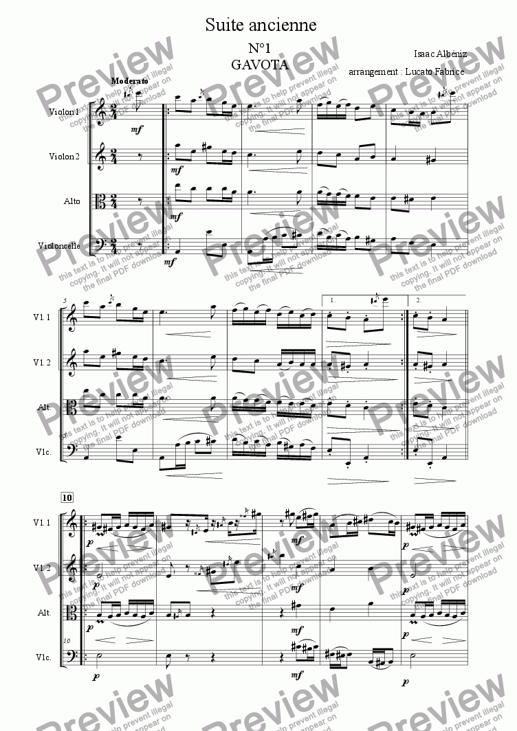 page one of suite ancienne albeniz quatuor à CordesASALTTEXT