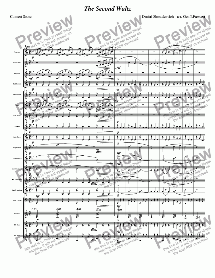 The Second Waltz for Brass band by Dmitri Shostakovich - Sheet Music PDF  file to download