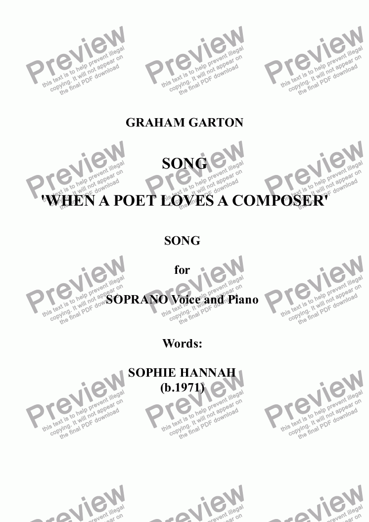 page one of SONG - 'WHEN A POET LOVES A COMPOSER' for SOPRANO Voice and Piano. Words: Sophie Hannah (b.1971)
