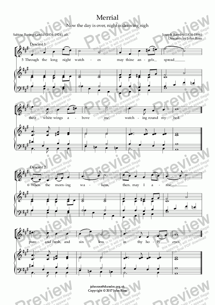 page one of Merrial (Now the day is over, night is drawing nigh) - Double descant