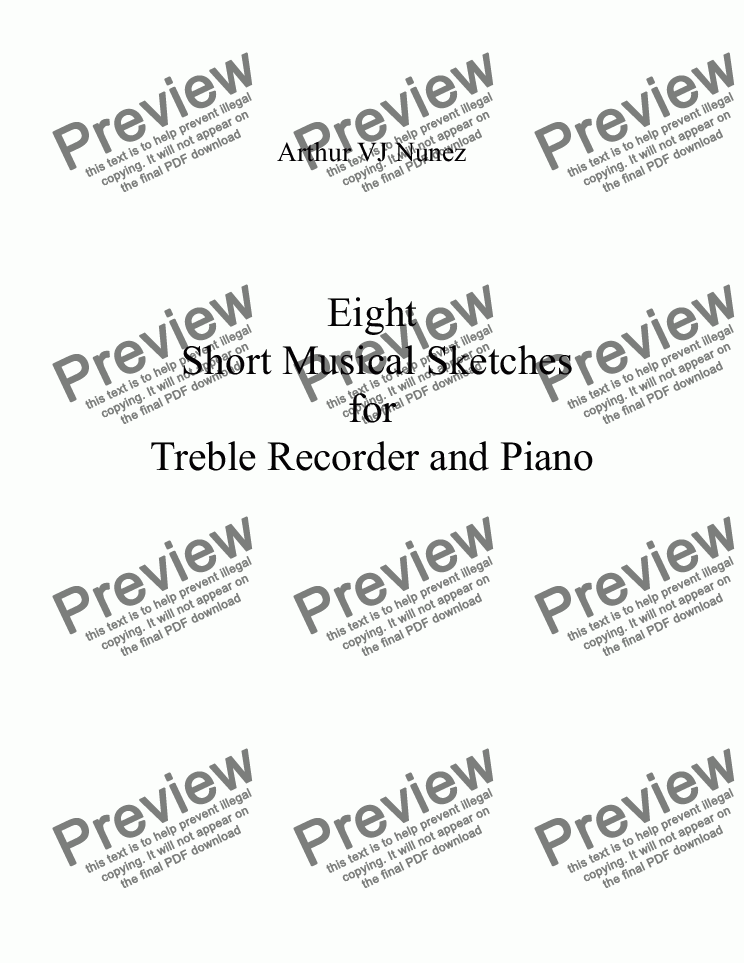 page one of Eight Short Musical Sketches  for  Treble Recorder and Piano