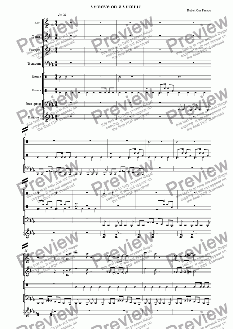 Groove on a Ground 2 for Large mixed ensemble by Robert Passow - Sheet  Music PDF file to download