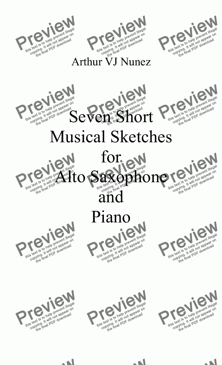 page one of Seven Short Musical Sketches  for  Alto Saxophone and Piano