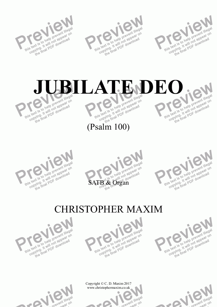 page one of Jubilate Deo (Psalm 100)