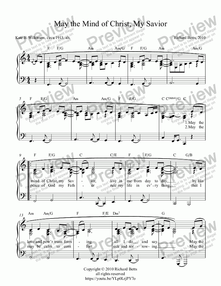page one of May the Mind of Christ, My Savior - New Hymn Tune - Piano Solo