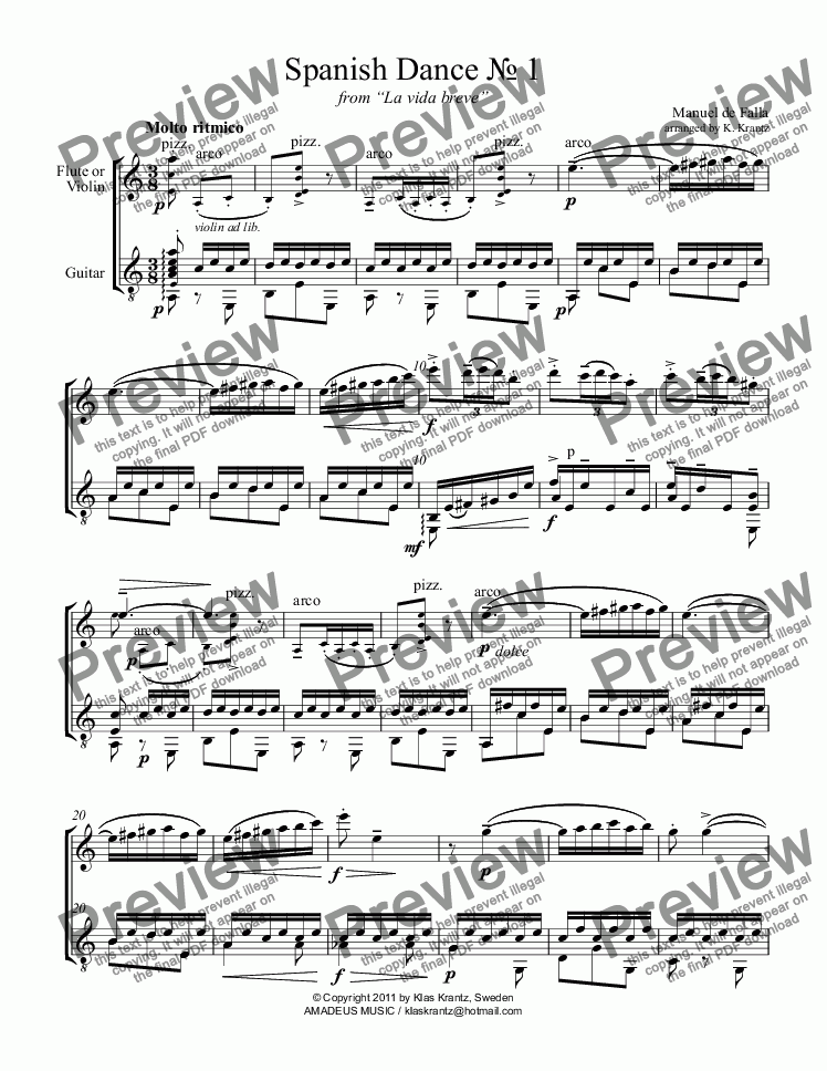 "page one of Spanish Dance No. 1 from ""La vida breve"" for flute/violin and guitar"