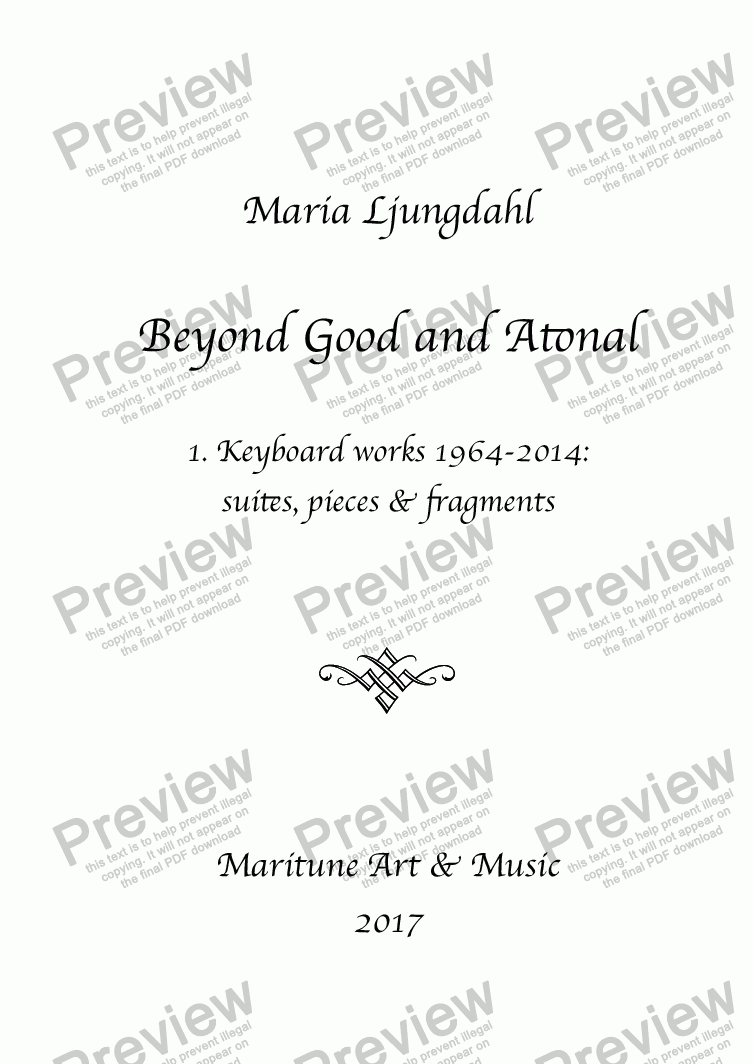 page one of Beyond Good and Atonal (piano album)