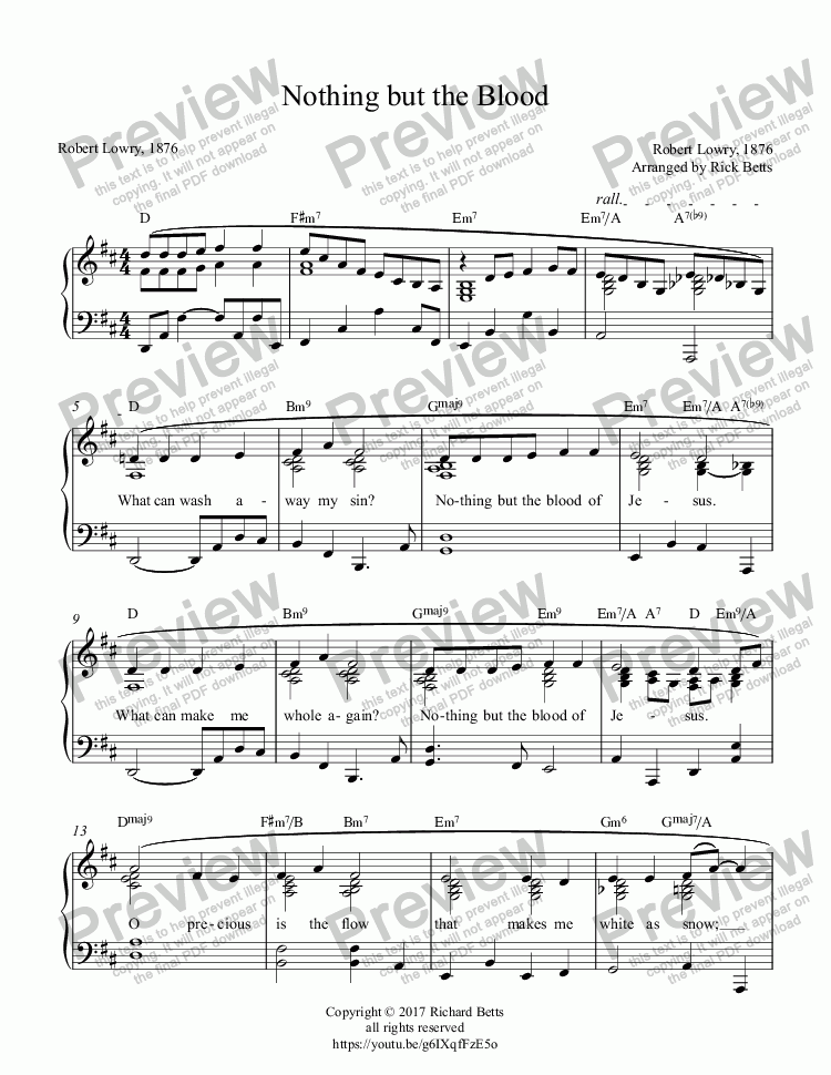 page one of Nothing but the Blood of Jesus - Lent / Holy Week / Communion Hymn Piano Solo (What Can Wash Away My Sin?)