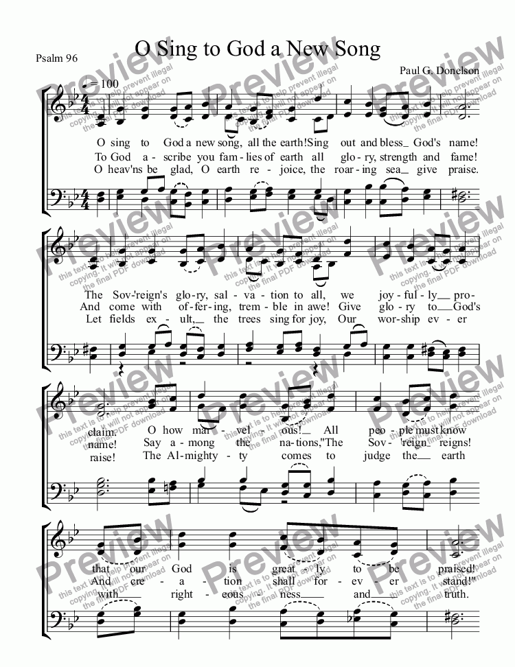 page one of O Sing to God a New Song
