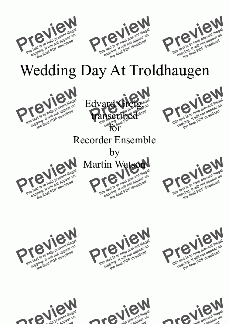 page one of Wedding Day At Troldhaugen for Recorder Ensemble