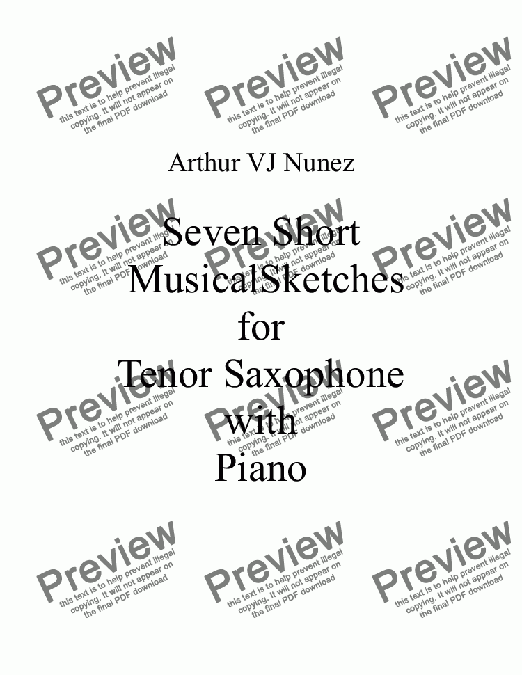 page one of Seven Short Musical Sketches for Tenor Saxophone and Piano