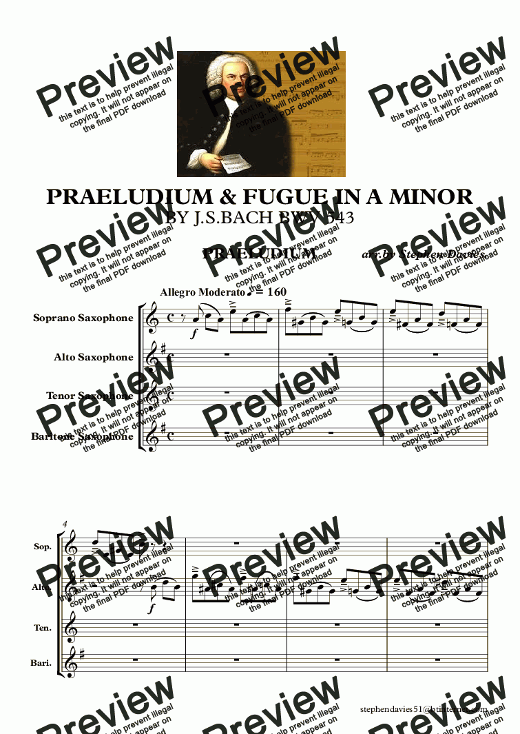 page one of Praeludium & Fugue in A Minor by J.S.Bach bwv543 (Sax Quartet)