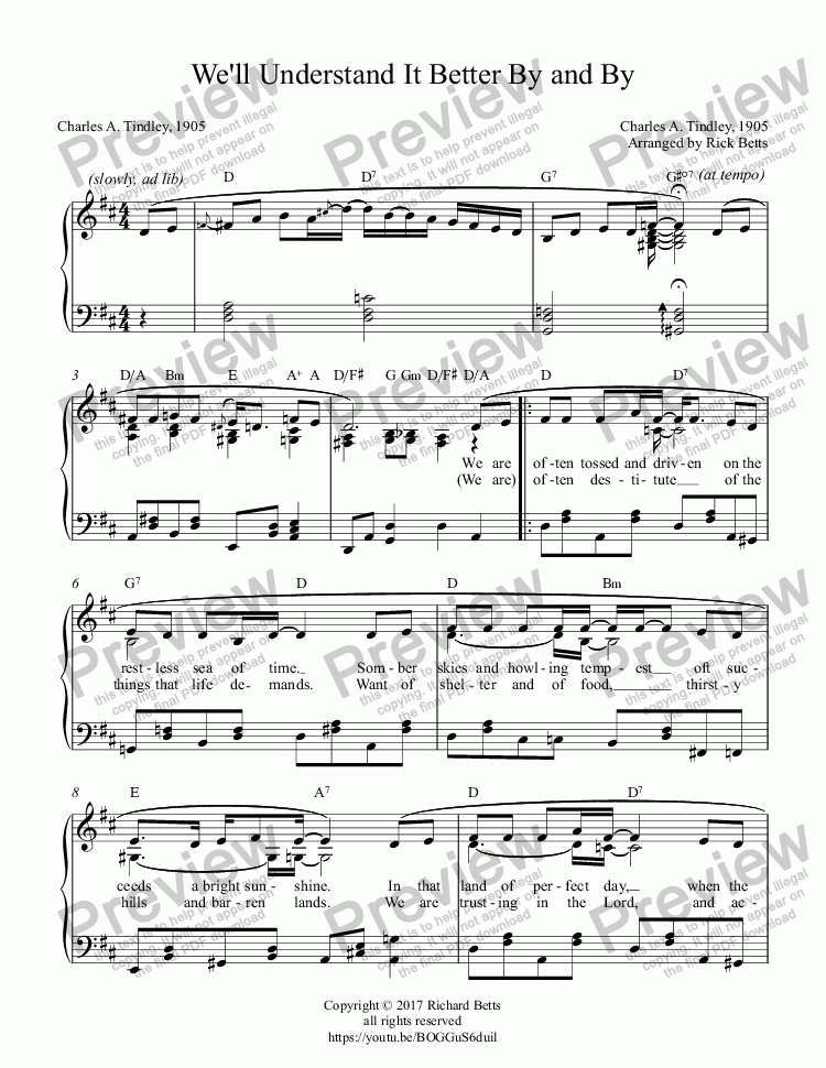 page one of We'll Understand It Better By and By (When the Morning Comes) - Hymn Piano SoloASALTTEXT