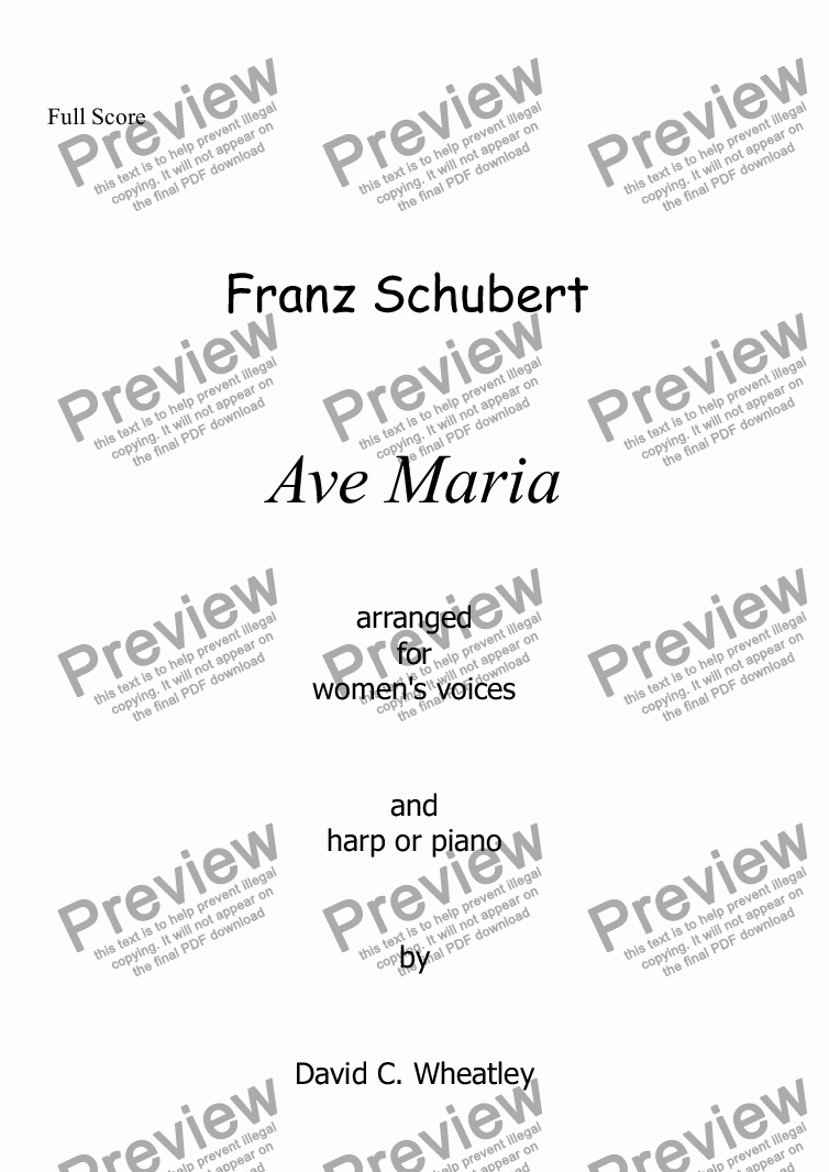 page one of Schubert - Ave Maria for women's voices and harpASALTTEXT
