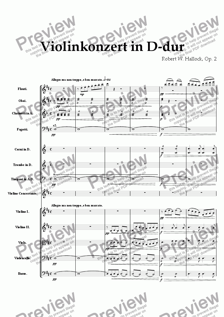 page one of Violin Concerto in D Major: mvt. 1