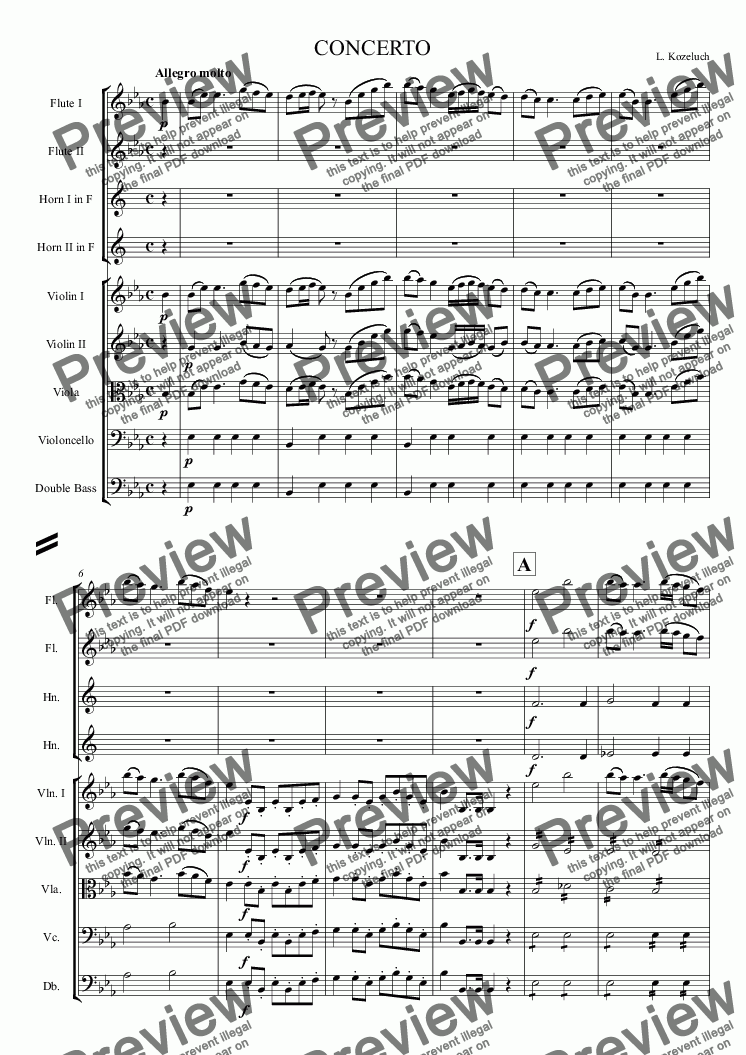 page one of Clarinet concerto (Kozeluch)
