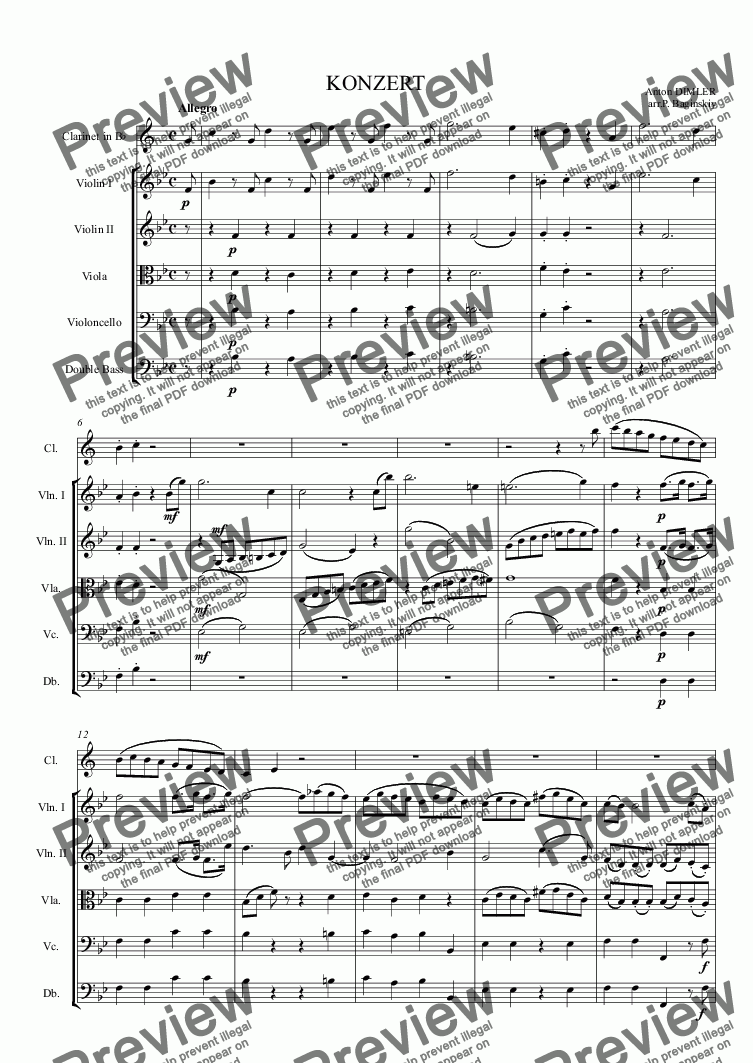 page one of Clarinet concerto (Dimler)