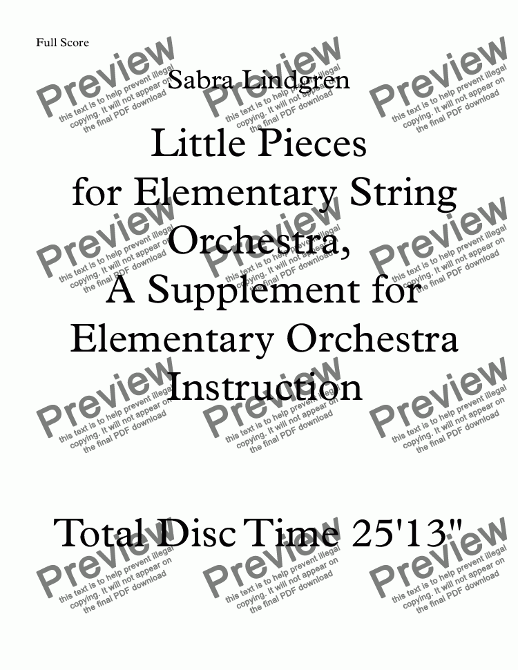 page one of Little Pieces for Elementary String Ochestra, A Supplement for Elementary Orchestra Instruction   Mixolydian Melody