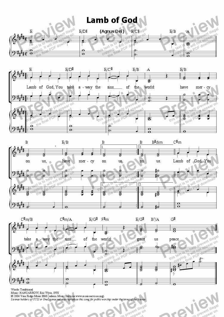 page one of Lamb of God (Agnus Dei)