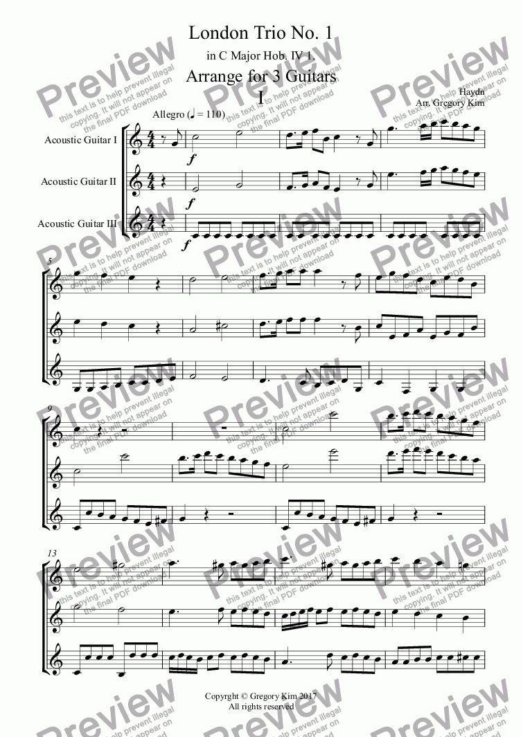 page one of London Trio No. 1  in C Major Hob. IV 1. Arrange for 3 Guitars IASALTTEXT