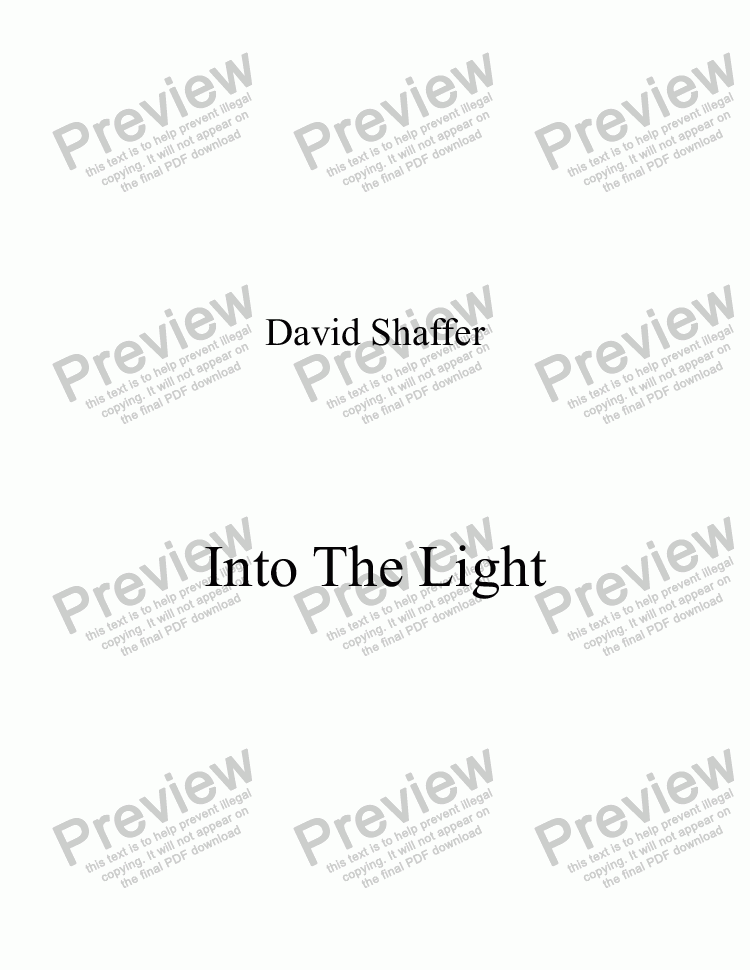 page one of Into The Light