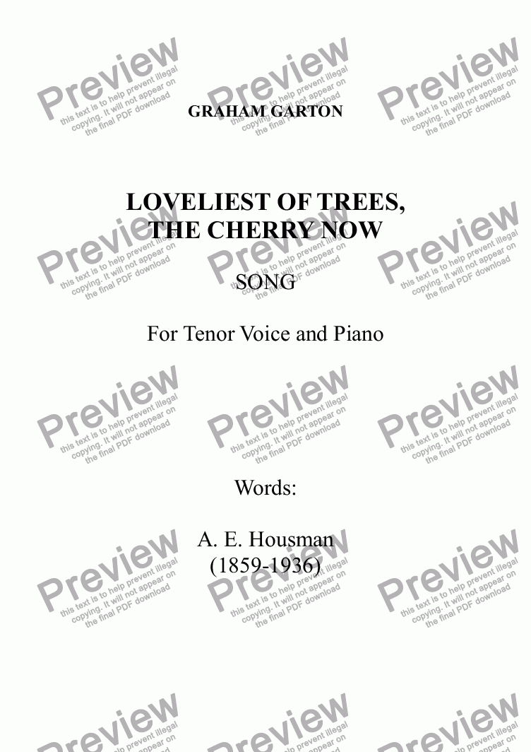 page one of SONG - 'LOVELIEST OF TREES, THE CHERRY NOW' for TENOR Voice and Piano. Words: A. E. Housman (1859-1936)ASALTTEXT