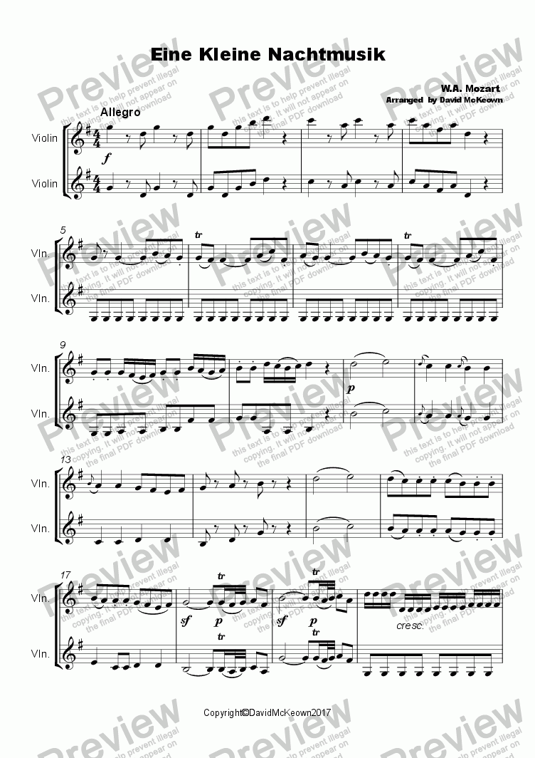 page one of Eine Kleine Nacht Musik Duet for Violin