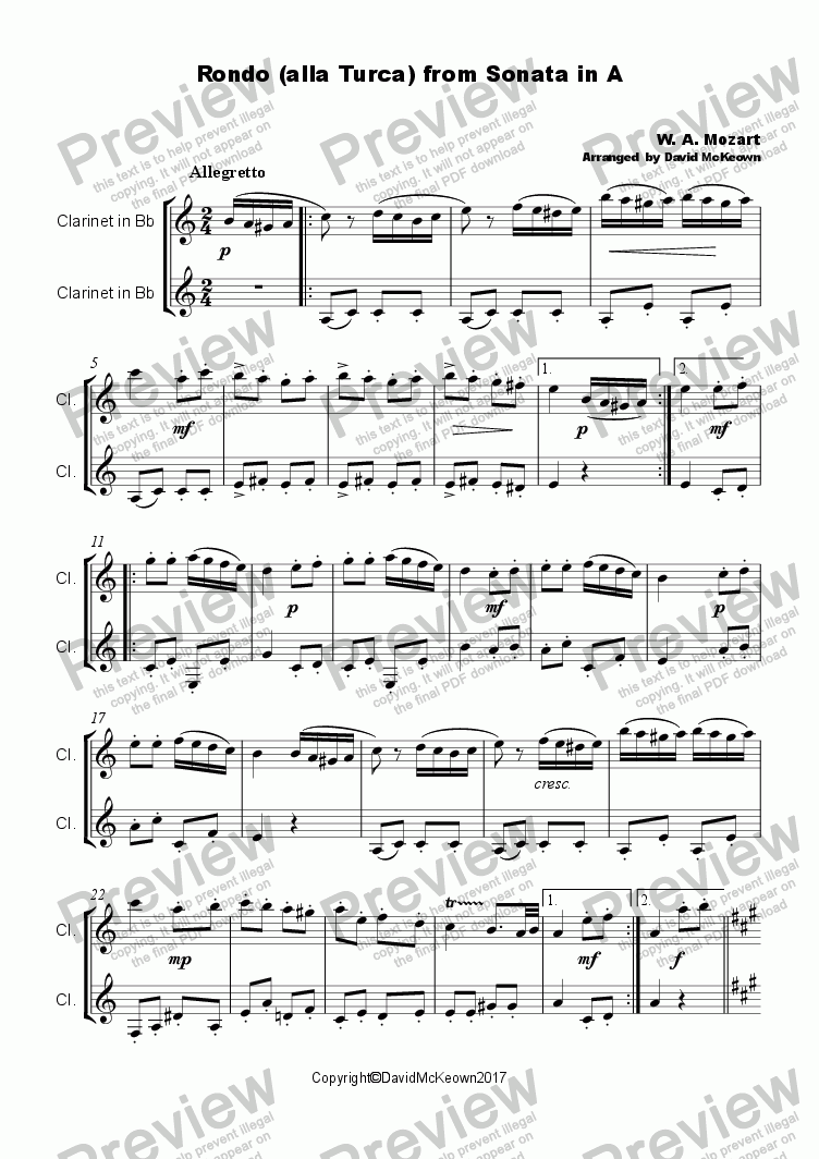 page one of Rondo Alla Turca Duet for Two ClarinetsASALTTEXT