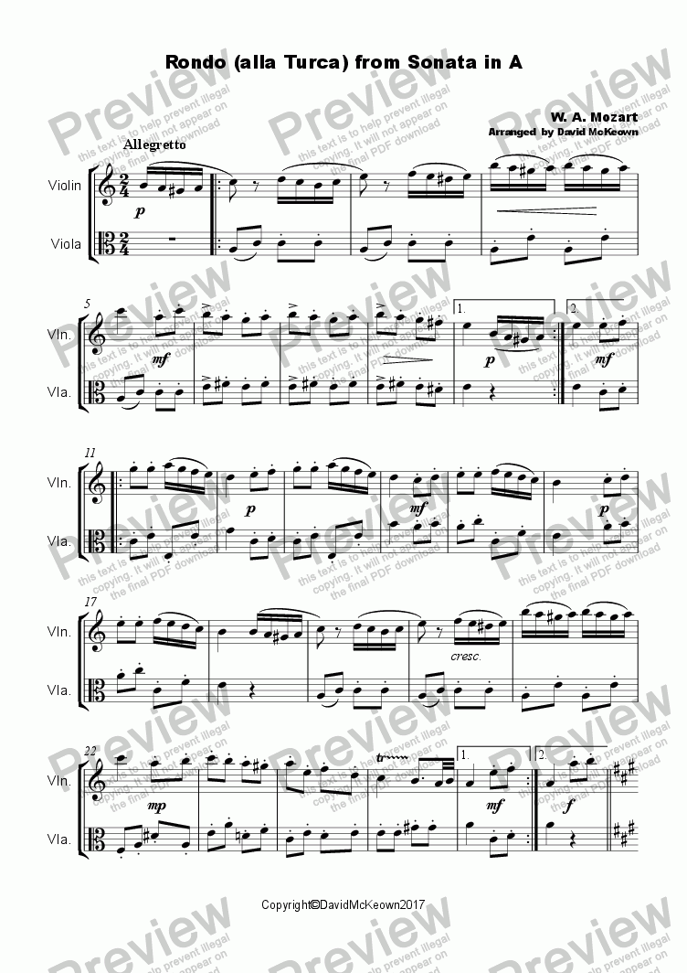 page one of Rondo Alla Turca, Duet for Violin and Viola