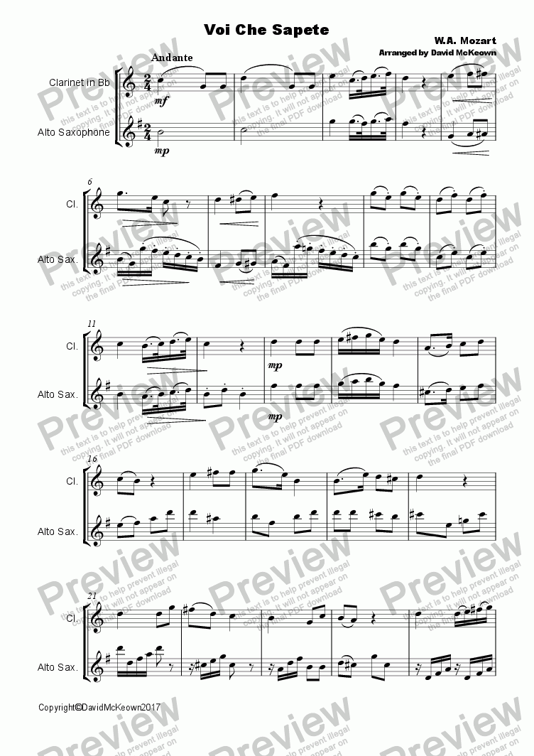 page one of Voi che Sapete Duet for Clarinet and Alto Saxophone