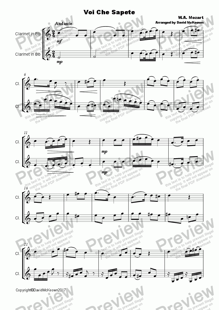 page one of Voi che Sapete Duet for Clarinet