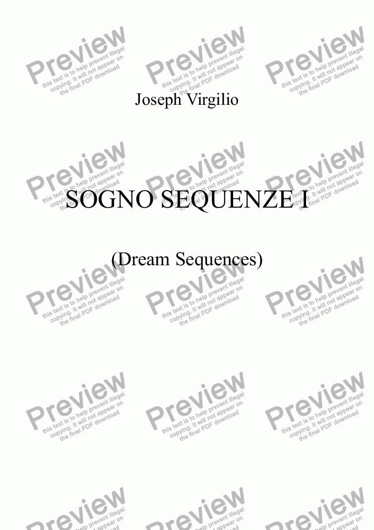page one of :056 Opus: Sogno Sequenze No. 1