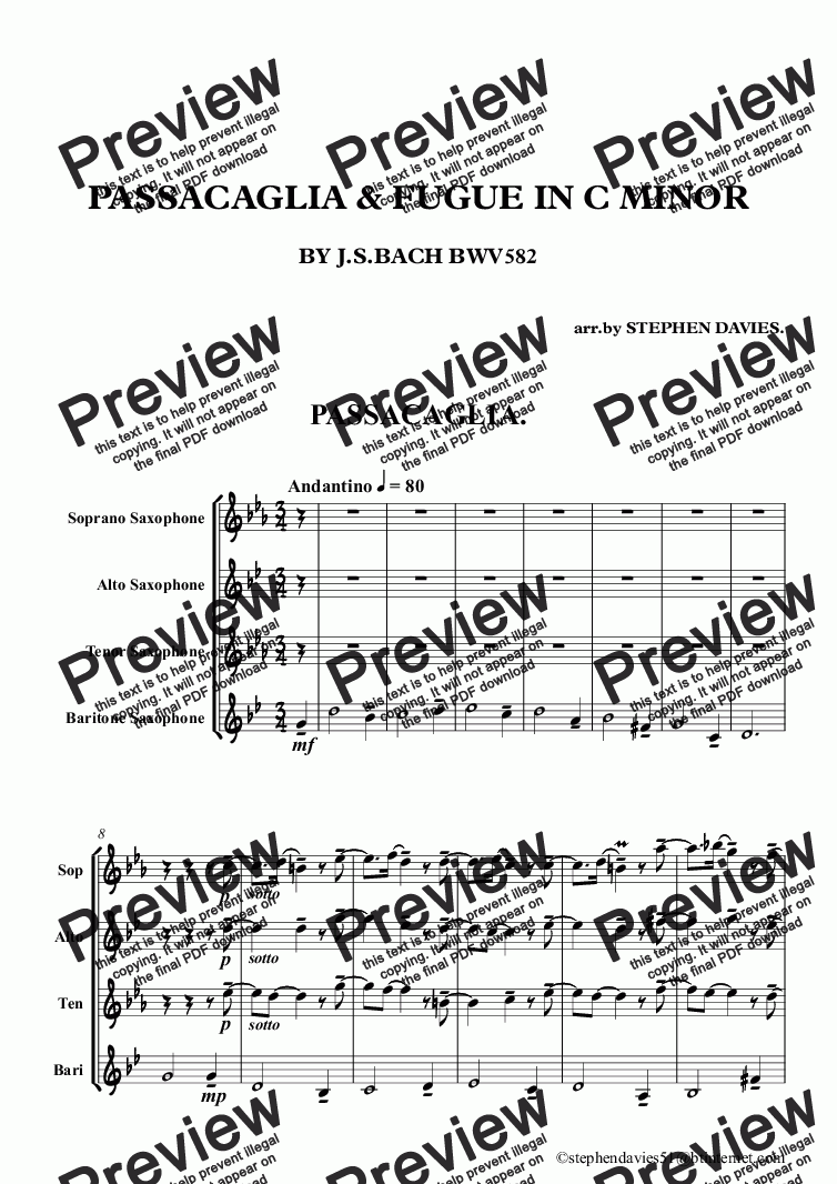 page one of Passacaglia & Fugue in C Minor by J.S.Bach bwv832 (Sax Quartet)ASALTTEXT