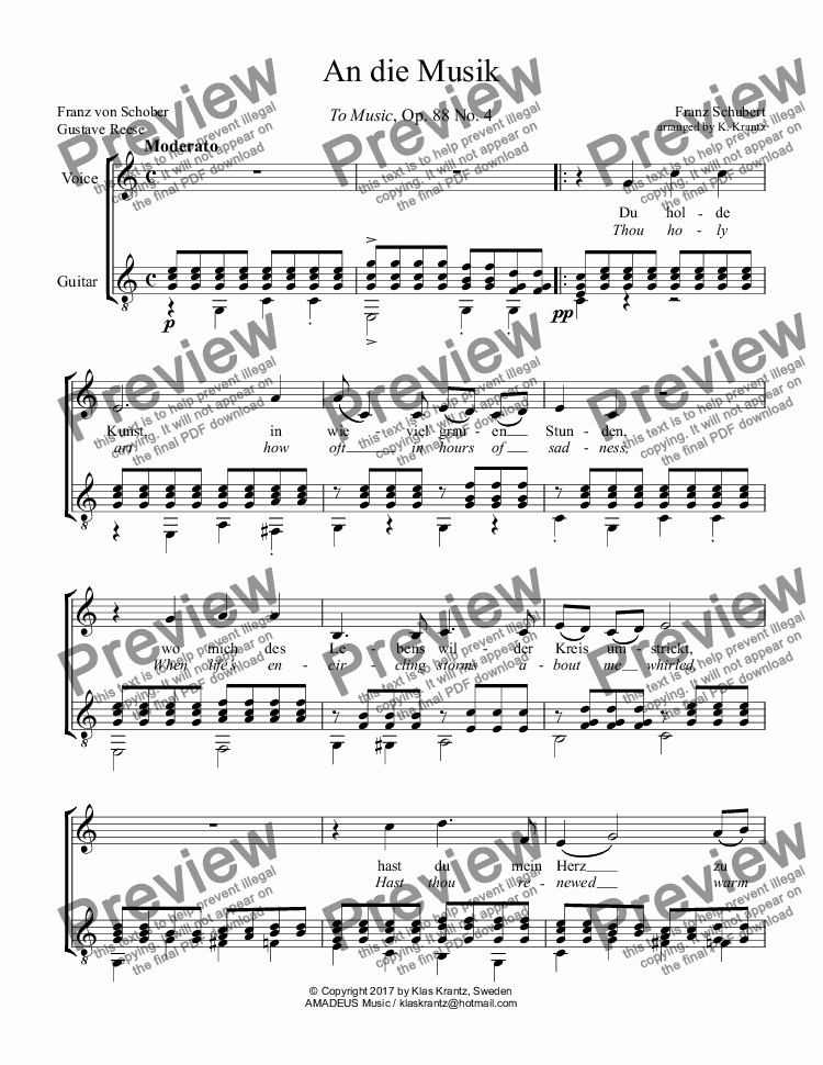 page one of An die Musik, To Music for voice and guitar