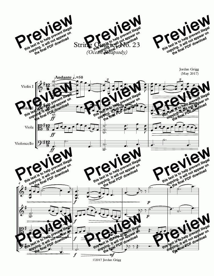 page one of String Quartet No 23 (Ocean Rhapsody) - Score and parts