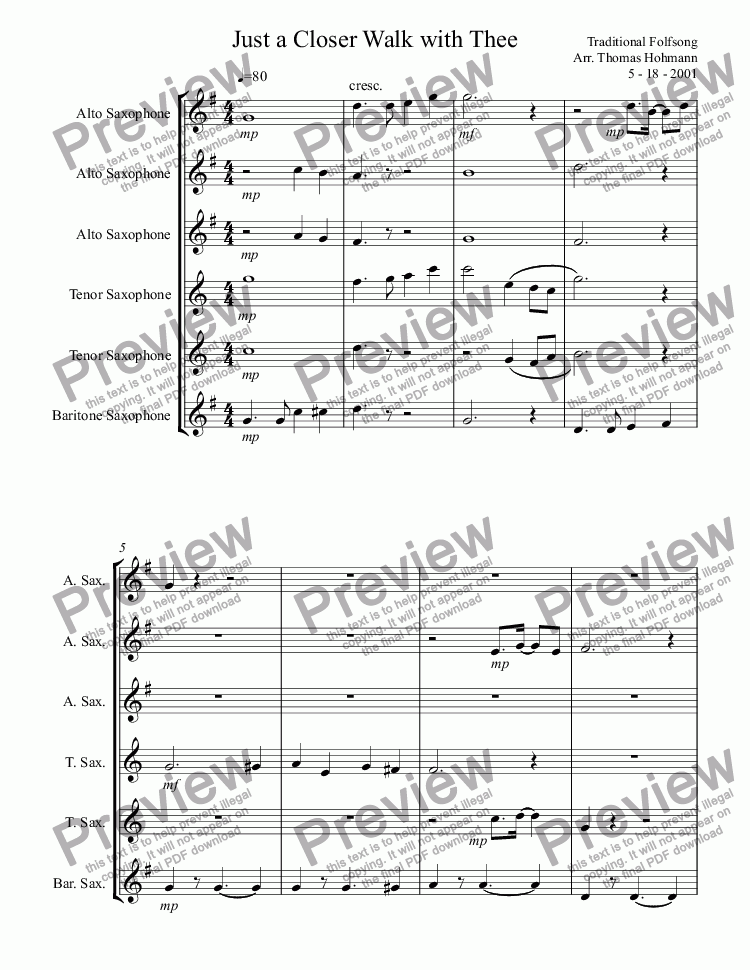 Just a Closer Walk with Thee - Download Sheet Music PDF file