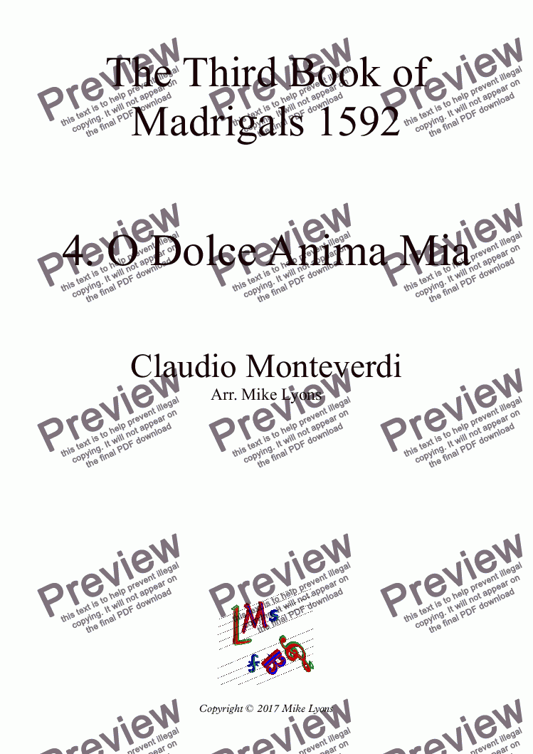 page one of Brass Quintet - Monteverdi Madrigals Book 3 - 04. O Dolce Anima Mia