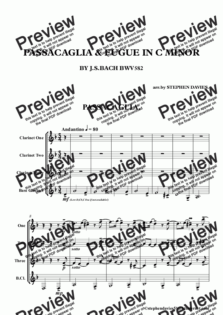 page one of Passacaglia & Fugue in C Minor by J.S.Bach bwv832 (Clarinet Quartet)ASALTTEXT
