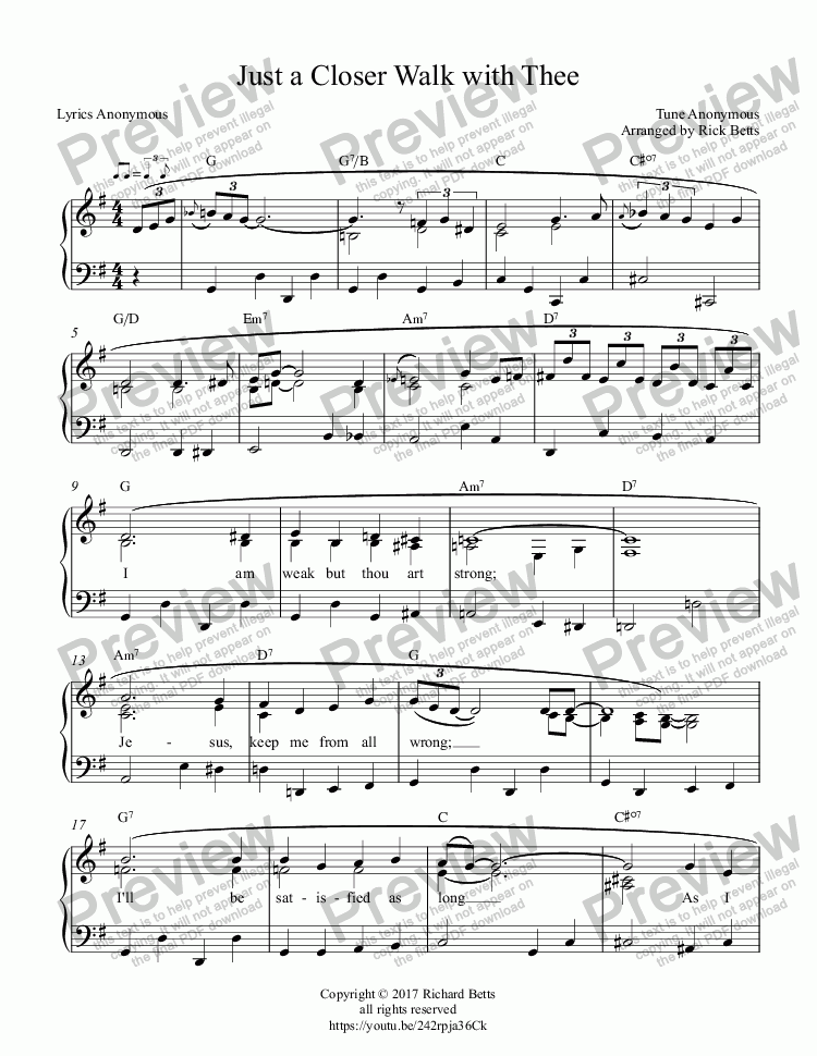 Just a Closer Walk with Thee - Country Gospel Hymn Piano Solo for Solo  instrument (Piano) by Anonymous - Sheet Music PDF file to download