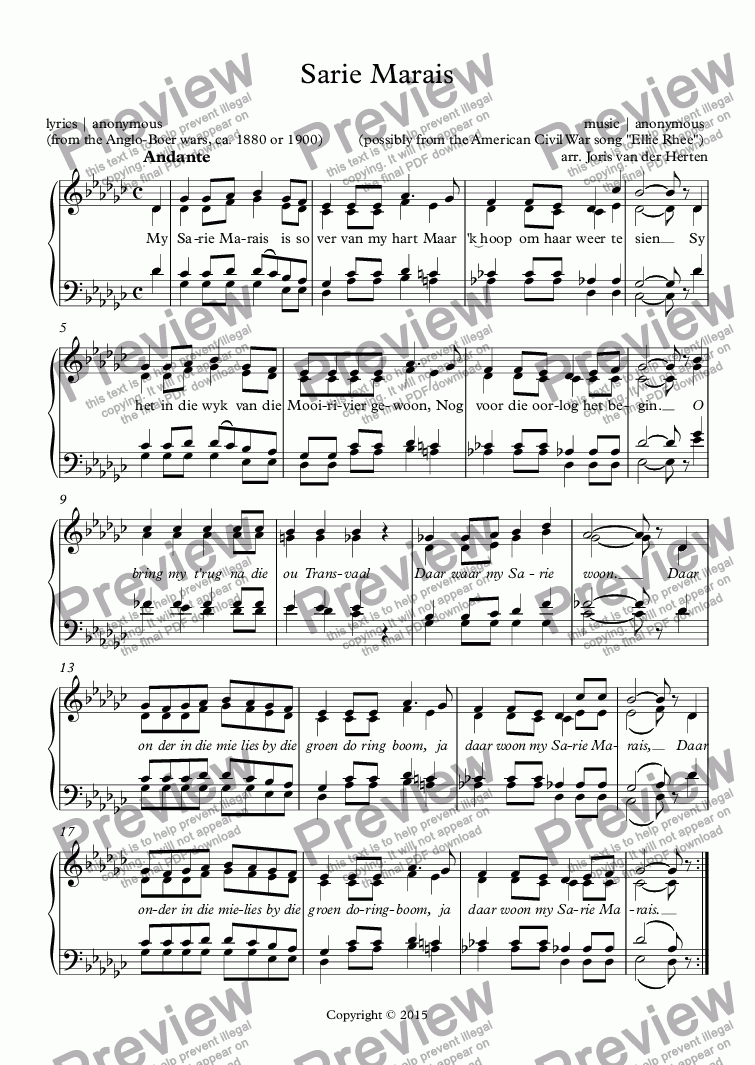 page one of Sarie Marais [South-African folksong] (choir SATB)