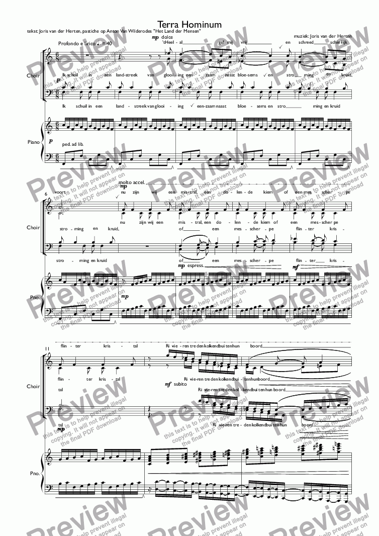 page one of Terra Hominum (juvenilia, choir SATB + piano)