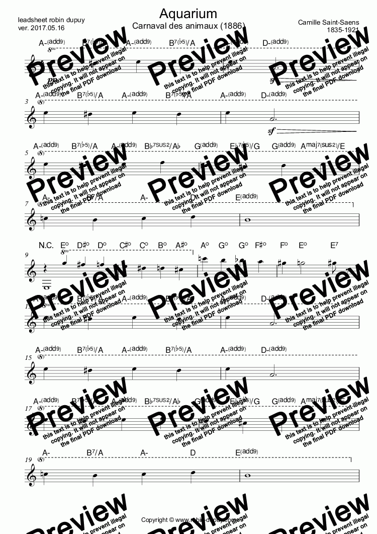 page one of Saint Saens - Aquarium - PDF - lead sheet Melody + chords