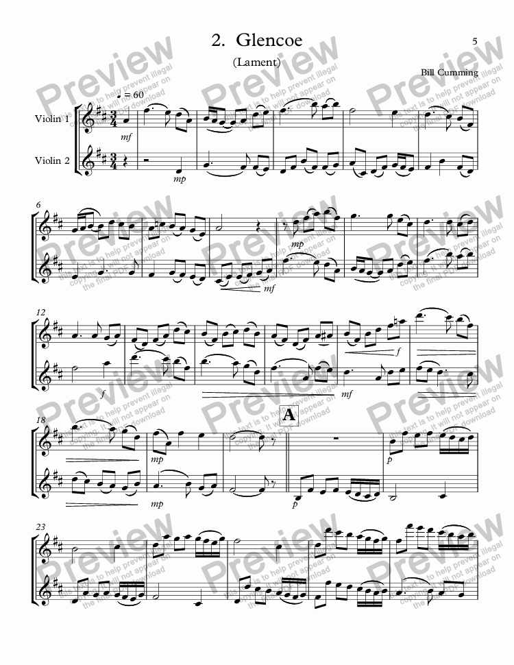 "page one of 2.  ""Glencoe"" (Lament) for two violins"