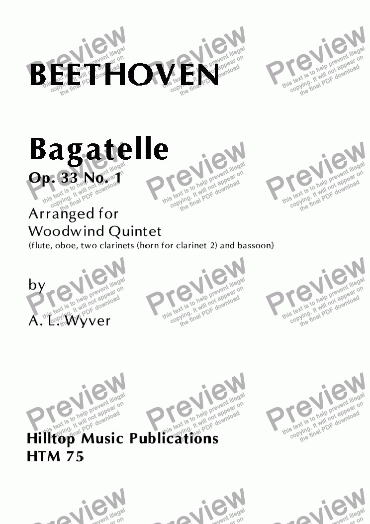 page one of Bagatelle