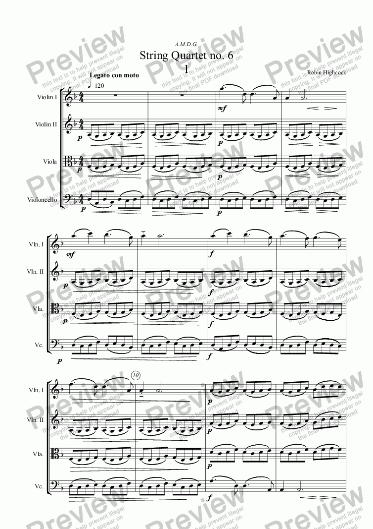 page one of String Quartet no. 6