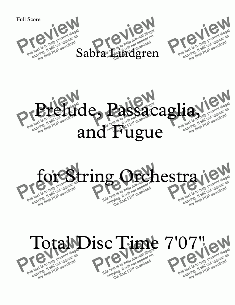page one of Prelude, Passacaglia, and Fugue for String Orchestra