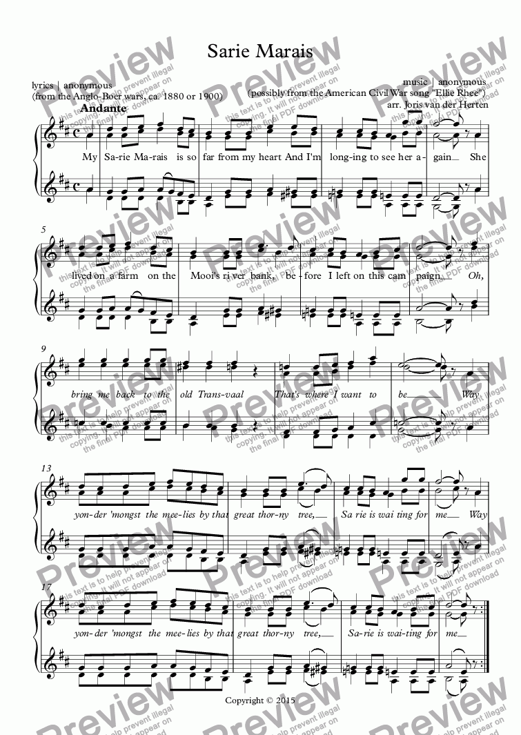 page one of Sarie Marais [South-African folksong] (choir SSAA)