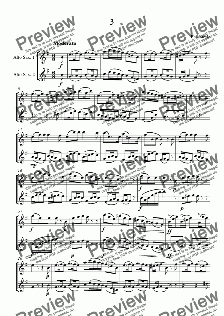 page one of Four Alto Sax Duets - No.3